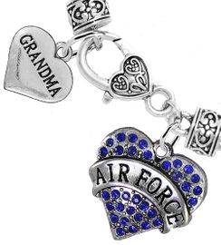 """<Br>         WHOLESALE AIR FORCE JEWELRY  <BR>                AN ALLAN ROBIN DESIGN!! <Br>          CADMIUM, LEAD & NICKEL FREE!!  <Br> W1477-1832B1 - """"AIR FORCE - GRANDMA"""" HEART  <BR>  CHARMS ON HEART LOBSTER CLASP BRACELET <BR>            FROM $7.50 TO $9.50 �2016"""