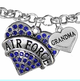 """<Br>         WHOLESALE AIR FORCE JEWELRY  <BR>                AN ALLAN ROBIN DESIGN!! <Br>          CADMIUM, LEAD & NICKEL FREE!!  <Br> W1477-1832B2 - """"AIR FORCE - GRANDMA"""" HEART  <BR>CHARMS ON LOBSTER CLASP ROLLO CHAIN BRACELET <BR>            FROM $7.50 TO $9.50 �2016"""