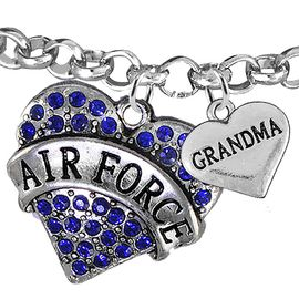 "<Br>         WHOLESALE AIR FORCE JEWELRY  <BR>                AN ALLAN ROBIN DESIGN!! <Br>          CADMIUM, LEAD & NICKEL FREE!!  <Br> W1477-1832B2 - ""AIR FORCE - GRANDMA"" HEART  <BR>CHARMS ON LOBSTER CLASP ROLLO CHAIN BRACELET <BR>            FROM $7.50 TO $9.50 �2016"