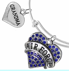 """<Br>         WHOLESALE AIR FORCE JEWELRY  <BR>                AN ALLAN ROBIN DESIGN!! <Br>          CADMIUM, LEAD & NICKEL FREE!!  <Br> W1477-1832B9 - """"AIR FORCE - GRANDMA"""" HEART  <BR>CHARMS ON THIN ADJUSTABLE WIRE BRACELET <BR>            FROM $7.50 TO $9.50 �2016"""