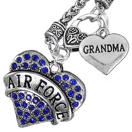 """<Br>         WHOLESALE AIR FORCE JEWELRY   <BR>                AN ALLAN ROBIN DESIGN!!  <Br>          CADMIUM, LEAD & NICKEL FREE!!   <Br>W1477-1832N10 - """"AIR FORCE - GRANDMA"""" HEART   <BR>CHARMS ON CLASP OF HEART LOBSTER CLASP CHAIN  <BR>   NECKLACE FROM $8.50 TO $10.50 �2016"""