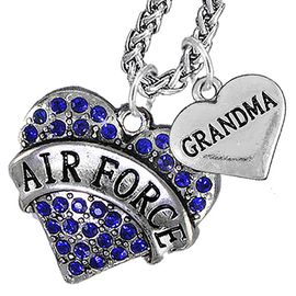 """<Br>                 WHOLESALE AIR FORCE JEWELRY   <BR>                     AN ALLAN ROBIN DESIGN!!  <Br>               CADMIUM, LEAD & NICKEL FREE!!   <Br> W1477-1832N14 - """"AIR FORCE - GRANDMA"""" HEART   <BR>CHARMS ON CHAIN OF HEART LOBSTER CLASP CHAIN  <BR>         NECKLACE FROM $8.50 TO $10.50 �2016"""