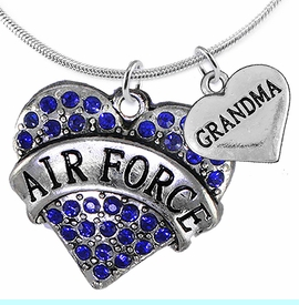 """<Br>         WHOLESALE AIR FORCE JEWELRY  <BR>                AN ALLAN ROBIN DESIGN!! <Br>          CADMIUM, LEAD & NICKEL FREE!!  <Br>W1477-1832N2 - """"AIR FORCE - GRANDMA"""" HEART  <BR>  CHARMS ON LOBSTER CLASP SNAKE CHAIN NECKLACE <BR>        FROM $8.50 TO $10.50 �2016"""