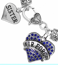 """<Br>         WHOLESALE AIR FORCE JEWELRY  <BR>                AN ALLAN ROBIN DESIGN!! <Br>          CADMIUM, LEAD & NICKEL FREE!!  <Br> W1477-1833B1 - """"AIR FORCE - SISTER"""" HEART  <BR>  CHARMS ON HEART LOBSTER CLASP BRACELET <BR>            FROM $7.50 TO $9.50 �2016"""