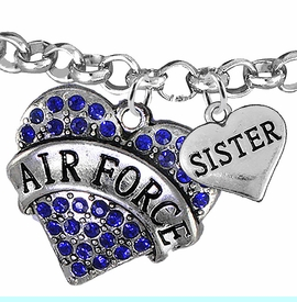 """<Br>         WHOLESALE AIR FORCE JEWELRY  <BR>                AN ALLAN ROBIN DESIGN!! <Br>          CADMIUM, LEAD & NICKEL FREE!!  <Br> W1477-1833B2 - """"AIR FORCE - SISTER"""" HEART  <BR>CHARMS ON LOBSTER CLASP ROLLO CHAIN BRACELET <BR>            FROM $7.50 TO $9.50 �2016"""
