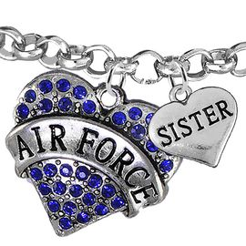"<Br>         WHOLESALE AIR FORCE JEWELRY  <BR>                AN ALLAN ROBIN DESIGN!! <Br>          CADMIUM, LEAD & NICKEL FREE!!  <Br> W1477-1833B2 - ""AIR FORCE - SISTER"" HEART  <BR>CHARMS ON LOBSTER CLASP ROLLO CHAIN BRACELET <BR>            FROM $7.50 TO $9.50 �2016"