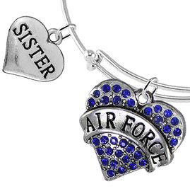 """<Br>         WHOLESALE AIR FORCE JEWELRY  <BR>                AN ALLAN ROBIN DESIGN!! <Br>          CADMIUM, LEAD & NICKEL FREE!!  <Br> W1477-1833B9 - """"AIR FORCE - SISTER"""" HEART  <BR>CHARMS ON THIN ADJUSTABLE WIRE BRACELET <BR>            FROM $7.50 TO $9.50 �2016"""