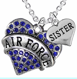 """<Br>         WHOLESALE AIR FORCE JEWELRY  <BR>                AN ALLAN ROBIN DESIGN!! <Br>          CADMIUM, LEAD & NICKEL FREE!!  <Br>W1477-1833N1 - """"AIR FORCE - SISTER"""" HEART  <BR>  CHARMS ON LOBSTER CLASP CHAIN NECKLACE <BR>        FROM $8.50 TO $10.50 �2016"""