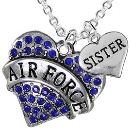"<Br>         WHOLESALE AIR FORCE JEWELRY  <BR>                AN ALLAN ROBIN DESIGN!! <Br>          CADMIUM, LEAD & NICKEL FREE!!  <Br>W1477-1833N1 - ""AIR FORCE - SISTER"" HEART  <BR>  CHARMS ON LOBSTER CLASP CHAIN NECKLACE <BR>        FROM $8.50 TO $10.50 �2016"