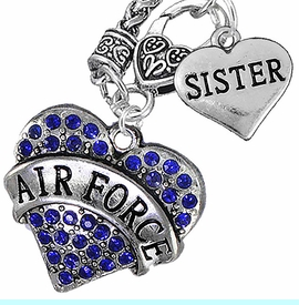 """<Br>         WHOLESALE AIR FORCE JEWELRY   <BR>                AN ALLAN ROBIN DESIGN!!  <Br>          CADMIUM, LEAD & NICKEL FREE!!   <Br>W1477-1833N10 - """"AIR FORCE - SISTER"""" HEART   <BR>CHARMS ON CLASP OF HEART LOBSTER CLASP CHAIN  <BR>   NECKLACE FROM $8.50 TO $10.50 �2016"""