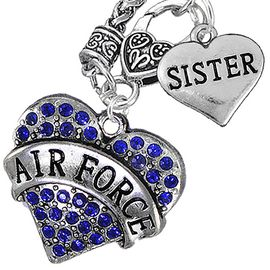 "<Br>         WHOLESALE AIR FORCE JEWELRY   <BR>                AN ALLAN ROBIN DESIGN!!  <Br>          CADMIUM, LEAD & NICKEL FREE!!   <Br>W1477-1833N10 - ""AIR FORCE - SISTER"" HEART   <BR>CHARMS ON CLASP OF HEART LOBSTER CLASP CHAIN  <BR>   NECKLACE FROM $8.50 TO $10.50 �2016"