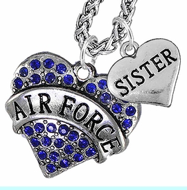 """<Br>                 WHOLESALE AIR FORCE JEWELRY   <BR>                     AN ALLAN ROBIN DESIGN!!  <Br>               CADMIUM, LEAD & NICKEL FREE!!   <Br> W1477-1833N14 - """"AIR FORCE - SISTER"""" HEART   <BR>CHARMS ON CHAIN OF HEART LOBSTER CLASP CHAIN  <BR>         NECKLACE FROM $8.50 TO $10.50 �2016"""