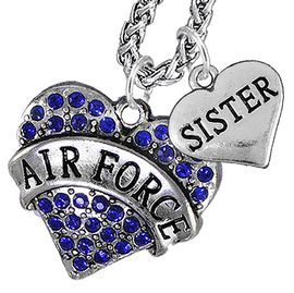 "<Br>                 WHOLESALE AIR FORCE JEWELRY   <BR>                     AN ALLAN ROBIN DESIGN!!  <Br>               CADMIUM, LEAD & NICKEL FREE!!   <Br> W1477-1833N14 - ""AIR FORCE - SISTER"" HEART   <BR>CHARMS ON CHAIN OF HEART LOBSTER CLASP CHAIN  <BR>         NECKLACE FROM $8.50 TO $10.50 �2016"