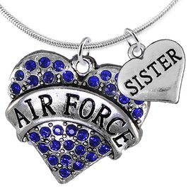 "<Br>         WHOLESALE AIR FORCE JEWELRY  <BR>                AN ALLAN ROBIN DESIGN!! <Br>          CADMIUM, LEAD & NICKEL FREE!!  <Br>W1477-1833N2 - ""AIR FORCE - SISTER"" HEART  <BR>  CHARMS ON LOBSTER CLASP SNAKE CHAIN NECKLACE <BR>        FROM $8.50 TO $10.50 �2016"