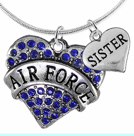 """<Br>         WHOLESALE AIR FORCE JEWELRY  <BR>                AN ALLAN ROBIN DESIGN!! <Br>          CADMIUM, LEAD & NICKEL FREE!!  <Br>W1477-1833N2 - """"AIR FORCE - SISTER"""" HEART  <BR>  CHARMS ON LOBSTER CLASP SNAKE CHAIN NECKLACE <BR>        FROM $8.50 TO $10.50 �2016"""