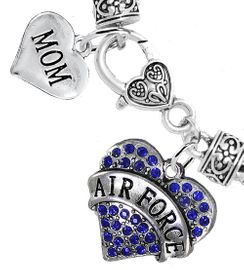 """<Br>         WHOLESALE AIR FORCE JEWELRY  <BR>                AN ALLAN ROBIN DESIGN!! <Br>          CADMIUM, LEAD & NICKEL FREE!!  <Br> W1477-1837B1 - """"AIR FORCE - MOM"""" HEART  <BR>  CHARMS ON HEART LOBSTER CLASP BRACELET <BR>            FROM $7.50 TO $9.50 �2016"""