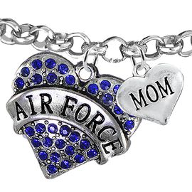 """<Br>         WHOLESALE AIR FORCE JEWELRY  <BR>                AN ALLAN ROBIN DESIGN!! <Br>          CADMIUM, LEAD & NICKEL FREE!!  <Br> W1477-1837B2 - """"AIR FORCE - MOM"""" HEART  <BR>CHARMS ON LOBSTER CLASP ROLLO CHAIN BRACELET <BR>            FROM $7.50 TO $9.50 �2016"""