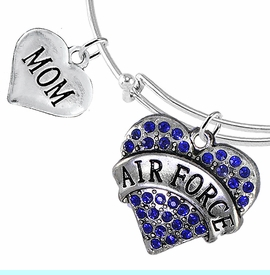 """<Br>         WHOLESALE AIR FORCE JEWELRY  <BR>                AN ALLAN ROBIN DESIGN!! <Br>          CADMIUM, LEAD & NICKEL FREE!!  <Br> W1477-1837B9 - """"AIR FORCE - MOM"""" HEART  <BR>CHARMS ON THIN ADJUSTABLE WIRE BRACELET <BR>            FROM $7.50 TO $9.50 �2016"""