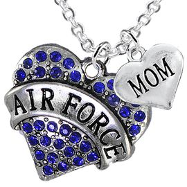 "<Br>         WHOLESALE AIR FORCE JEWELRY  <BR>                AN ALLAN ROBIN DESIGN!! <Br>          CADMIUM, LEAD & NICKEL FREE!!  <Br>W1477-1837N1 - ""AIR FORCE - MOM"" HEART  <BR>  CHARMS ON LOBSTER CLASP CHAIN NECKLACE <BR>        FROM $8.50 TO $10.50 �2016"