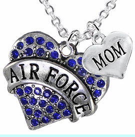 """<Br>         WHOLESALE AIR FORCE JEWELRY  <BR>                AN ALLAN ROBIN DESIGN!! <Br>          CADMIUM, LEAD & NICKEL FREE!!  <Br>W1477-1837N1 - """"AIR FORCE - MOM"""" HEART  <BR>  CHARMS ON LOBSTER CLASP CHAIN NECKLACE <BR>        FROM $8.50 TO $10.50 �2016"""