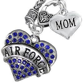 """<Br>         WHOLESALE AIR FORCE JEWELRY   <BR>                AN ALLAN ROBIN DESIGN!!  <Br>          CADMIUM, LEAD & NICKEL FREE!!   <Br>W1477-1837N10 - """"AIR FORCE - MOM"""" HEART   <BR>CHARMS ON CLASP OF HEART LOBSTER CLASP CHAIN  <BR>   NECKLACE FROM $8.50 TO $10.50 �2016"""