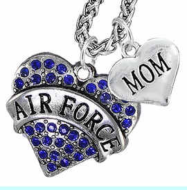 """<Br>                 WHOLESALE AIR FORCE JEWELRY   <BR>                     AN ALLAN ROBIN DESIGN!!  <Br>               CADMIUM, LEAD & NICKEL FREE!!   <Br> W1477-1837N14 - """"AIR FORCE - MOM"""" HEART   <BR>CHARMS ON CHAIN OF HEART LOBSTER CLASP CHAIN  <BR>         NECKLACE FROM $8.50 TO $10.50 �2016"""