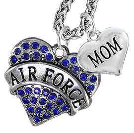 "<Br>                 WHOLESALE AIR FORCE JEWELRY   <BR>                     AN ALLAN ROBIN DESIGN!!  <Br>               CADMIUM, LEAD & NICKEL FREE!!   <Br> W1477-1837N14 - ""AIR FORCE - MOM"" HEART   <BR>CHARMS ON CHAIN OF HEART LOBSTER CLASP CHAIN  <BR>         NECKLACE FROM $8.50 TO $10.50 �2016"