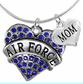 """<Br>         WHOLESALE AIR FORCE JEWELRY  <BR>                AN ALLAN ROBIN DESIGN!! <Br>          CADMIUM, LEAD & NICKEL FREE!!  <Br>W1477-1837N2 - """"AIR FORCE - MOM"""" HEART  <BR>  CHARMS ON LOBSTER CLASP SNAKE CHAIN NECKLACE <BR>        FROM $8.50 TO $10.50 �2016"""