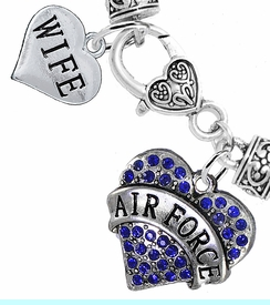 "<Br>         WHOLESALE AIR FORCE JEWELRY  <BR>                AN ALLAN ROBIN DESIGN!! <Br>          CADMIUM, LEAD & NICKEL FREE!!  <Br> W1477-1876B1 - ""AIR FORCE - WIFE"" HEART  <BR>  CHARMS ON HEART LOBSTER CLASP BRACELET <BR>            FROM $7.50 TO $9.50 �2016"