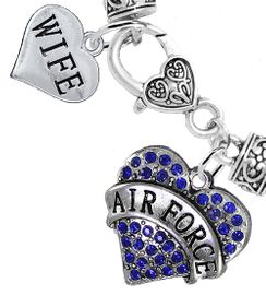 """<Br>         WHOLESALE AIR FORCE JEWELRY  <BR>                AN ALLAN ROBIN DESIGN!! <Br>          CADMIUM, LEAD & NICKEL FREE!!  <Br> W1477-1876B1 - """"AIR FORCE - WIFE"""" HEART  <BR>  CHARMS ON HEART LOBSTER CLASP BRACELET <BR>            FROM $7.50 TO $9.50 �2016"""