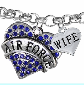 """<Br>         WHOLESALE AIR FORCE JEWELRY  <BR>                AN ALLAN ROBIN DESIGN!! <Br>          CADMIUM, LEAD & NICKEL FREE!!  <Br> W1477-1876B2 - """"AIR FORCE - WIFE"""" HEART  <BR>CHARMS ON LOBSTER CLASP ROLLO CHAIN BRACELET <BR>            FROM $7.50 TO $9.50 �2016"""