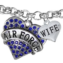 "<Br>         WHOLESALE AIR FORCE JEWELRY  <BR>                AN ALLAN ROBIN DESIGN!! <Br>          CADMIUM, LEAD & NICKEL FREE!!  <Br> W1477-1876B2 - ""AIR FORCE - WIFE"" HEART  <BR>CHARMS ON LOBSTER CLASP ROLLO CHAIN BRACELET <BR>            FROM $7.50 TO $9.50 �2016"