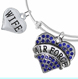 """<Br>         WHOLESALE AIR FORCE JEWELRY  <BR>                AN ALLAN ROBIN DESIGN!! <Br>          CADMIUM, LEAD & NICKEL FREE!!  <Br> W1477-1876B9 - """"AIR FORCE - WIFE"""" HEART  <BR>CHARMS ON THIN ADJUSTABLE WIRE BRACELET <BR>            FROM $7.50 TO $9.50 �2016"""
