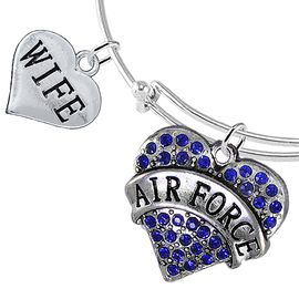 "<Br>         WHOLESALE AIR FORCE JEWELRY  <BR>                AN ALLAN ROBIN DESIGN!! <Br>          CADMIUM, LEAD & NICKEL FREE!!  <Br> W1477-1876B9 - ""AIR FORCE - WIFE"" HEART  <BR>CHARMS ON THIN ADJUSTABLE WIRE BRACELET <BR>            FROM $7.50 TO $9.50 �2016"