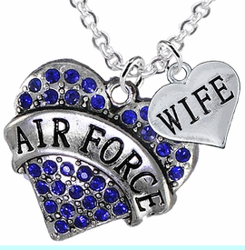 """<Br>         WHOLESALE AIR FORCE JEWELRY  <BR>                AN ALLAN ROBIN DESIGN!! <Br>          CADMIUM, LEAD & NICKEL FREE!!  <Br>W1477-1876N1 - """"AIR FORCE - WIFE"""" HEART  <BR>  CHARMS ON LOBSTER CLASP CHAIN NECKLACE <BR>        FROM $8.50 TO $10.50 �2016"""