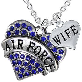 "<Br>         WHOLESALE AIR FORCE JEWELRY  <BR>                AN ALLAN ROBIN DESIGN!! <Br>          CADMIUM, LEAD & NICKEL FREE!!  <Br>W1477-1876N1 - ""AIR FORCE - WIFE"" HEART  <BR>  CHARMS ON LOBSTER CLASP CHAIN NECKLACE <BR>        FROM $8.50 TO $10.50 �2016"
