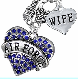 """<Br>         WHOLESALE AIR FORCE JEWELRY   <BR>                AN ALLAN ROBIN DESIGN!!  <Br>          CADMIUM, LEAD & NICKEL FREE!!   <Br>W1477-1876N10 - """"AIR FORCE - WIFE"""" HEART   <BR>CHARMS ON CLASP OF HEART LOBSTER CLASP CHAIN  <BR>   NECKLACE FROM $8.50 TO $10.50 �2016"""