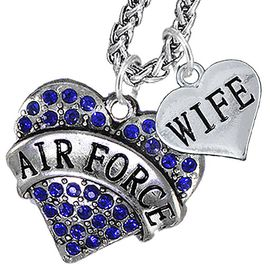 """<Br>                 WHOLESALE AIR FORCE JEWELRY   <BR>                     AN ALLAN ROBIN DESIGN!!  <Br>               CADMIUM, LEAD & NICKEL FREE!!   <Br> W1477-1876N14 - """"AIR FORCE - WIFE"""" HEART   <BR>CHARMS ON CHAIN OF HEART LOBSTER CLASP CHAIN  <BR>         NECKLACE FROM $8.50 TO $10.50 �2016"""
