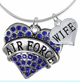 """<Br>         WHOLESALE AIR FORCE JEWELRY  <BR>                AN ALLAN ROBIN DESIGN!! <Br>          CADMIUM, LEAD & NICKEL FREE!!  <Br>W1477-1876N2 - """"AIR FORCE - WIFE"""" HEART  <BR>  CHARMS ON LOBSTER CLASP SNAKE CHAIN NECKLACE <BR>        FROM $8.50 TO $10.50 �2016"""