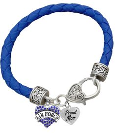 <BR><B>AIR FORCE, PROUD MOM, GENUINE CRYSTAL HEART</B><BR><BR>GENUINE BLUE WOVEN LEATHER BRACELET, VINTAGE ANTIQUE<BR> SILVER LOBSTER CLASP, NO NICKEL, NO LEAD, AND <BR>NO POISONOUS CADMIUM W1477-320B38 $11.88 Each �2018