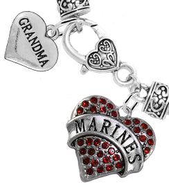 """<Br>     WHOLESALE USMC MARINES JEWELRY  <BR>                AN ALLAN ROBIN DESIGN!! <Br>          CADMIUM, LEAD & NICKEL FREE!!  <Br> W1478-1832B1 - """"MARINES - GRANDMA"""" HEART  <BR>  CHARMS ON HEART LOBSTER CLASP BRACELET <BR>            FROM $7.50 TO $9.50 �2016"""