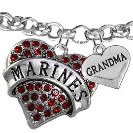 """<Br>         WHOLESALE USMC MARINES JEWELRY  <BR>                AN ALLAN ROBIN DESIGN!! <Br>          CADMIUM, LEAD & NICKEL FREE!!  <Br> W1478-1832B2 - """"MARINES - GRANDMA"""" HEART  <BR>CHARMS ON LOBSTER CLASP ROLLO CHAIN BRACELET <BR>            FROM $7.50 TO $9.50 �2016"""