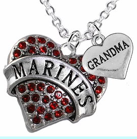 """<Br>         WHOLESALE USMC MARINES JEWELRY  <BR>                AN ALLAN ROBIN DESIGN!! <Br>          CADMIUM, LEAD & NICKEL FREE!!  <Br>W1478-1832N1 - """"MARINES - GRANDMA"""" HEART  <BR>  CHARMS ON LOBSTER CLASP CHAIN NECKLACE <BR>        FROM $8.50 TO $10.50 �2016"""