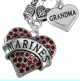 """<Br>         WHOLESALE USMC MARINES JEWELRY   <BR>                AN ALLAN ROBIN DESIGN!!  <Br>          CADMIUM, LEAD & NICKEL FREE!!   <Br>W1478-1832N10 - """"MARINES - GRANDMA"""" HEART   <BR>CHARMS ON CLASP OF HEART LOBSTER CLASP CHAIN  <BR>   NECKLACE FROM $8.50 TO $10.50 �2016"""