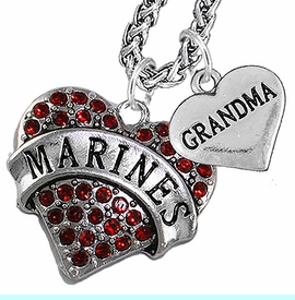 """<Br>                 WHOLESALE USMC MARINES JEWELRY   <BR>                     AN ALLAN ROBIN DESIGN!!  <Br>               CADMIUM, LEAD & NICKEL FREE!!   <Br> W1478-1832N14 - """"MARINES - GRANDMA"""" HEART   <BR>CHARMS ON CHAIN OF HEART LOBSTER CLASP CHAIN  <BR>         NECKLACE FROM $8.50 TO $10.50 �2016"""