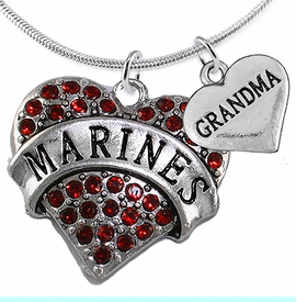 """<Br>         WHOLESALE USMC MARINES JEWELRY  <BR>                AN ALLAN ROBIN DESIGN!! <Br>          CADMIUM, LEAD & NICKEL FREE!!  <Br>W1478-1832N2 - """"MARINES - GRANDMA"""" HEART  <BR>  CHARMS ON LOBSTER CLASP SNAKE CHAIN NECKLACE <BR>        FROM $8.50 TO $10.50 �2016"""