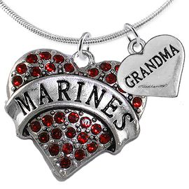 "<Br>         WHOLESALE USMC MARINES JEWELRY  <BR>                AN ALLAN ROBIN DESIGN!! <Br>          CADMIUM, LEAD & NICKEL FREE!!  <Br>W1478-1832N2 - ""MARINES - GRANDMA"" HEART  <BR>  CHARMS ON LOBSTER CLASP SNAKE CHAIN NECKLACE <BR>        FROM $8.50 TO $10.50 �2016"