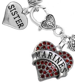 """<Br>     WHOLESALE USMC MARINES JEWELRY  <BR>                AN ALLAN ROBIN DESIGN!! <Br>          CADMIUM, LEAD & NICKEL FREE!!  <Br> W1478-1833B1 - """"MARINES - SISTER"""" HEART  <BR>  CHARMS ON HEART LOBSTER CLASP BRACELET <BR>            FROM $7.50 TO $9.50 �2016"""