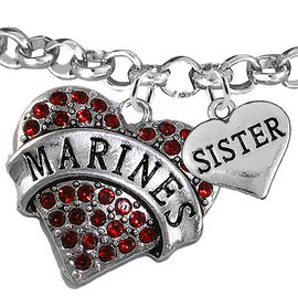 """<Br>         WHOLESALE USMC MARINES JEWELRY  <BR>                AN ALLAN ROBIN DESIGN!! <Br>          CADMIUM, LEAD & NICKEL FREE!!  <Br> W1478-1833B2 - """"MARINES - SISTER"""" HEART  <BR>CHARMS ON LOBSTER CLASP ROLLO CHAIN BRACELET <BR>            FROM $7.50 TO $9.50 �2016"""