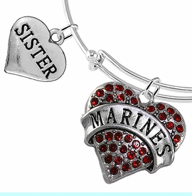 """<Br>         WHOLESALE USMC MARINES JEWELRY  <BR>                AN ALLAN ROBIN DESIGN!! <Br>          CADMIUM, LEAD & NICKEL FREE!!  <Br> W1478-1833B9 - """"MARINES - SISTER"""" HEART  <BR>CHARMS ON THIN ADJUSTABLE WIRE BRACELET <BR>            FROM $7.50 TO $9.50 �2016"""